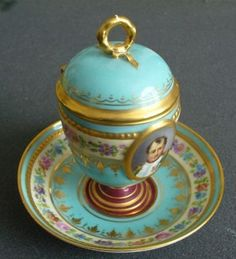 Sevres Naolean | Sevres Style Covered Cup and Saucer Napoleon Portrait | Napoleon