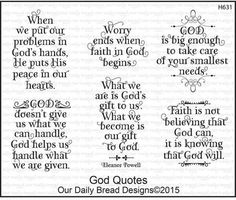 Our Daily Bread Designs God Quotes - Cling Rubber Stamp. Christian themed cling rubber stamps from Our Daily Bread Designs. God's Hands - 2 x 1-1/2, God Helps -