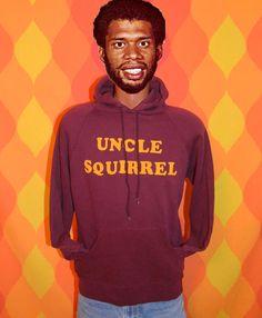 vintage 70s hoody sweatshirt UNCLE SQUIRREL raglan hoodie sweater flock Large 80s funny humor