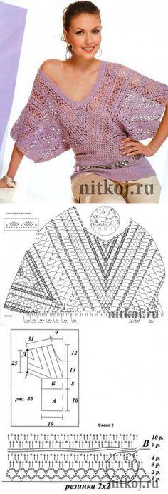 La blusa por el gancho »por el Hilo - las cosas tejidas para su casa, la labor de punto por el gancho, la labor de punto por los rayos, el esquema de la labor de punto