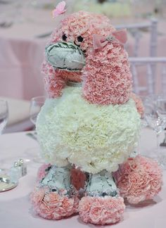 Make a poodle out of flowers!  Perfect for a pretty pink party!