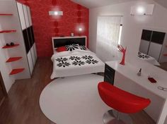 modern red white and black room