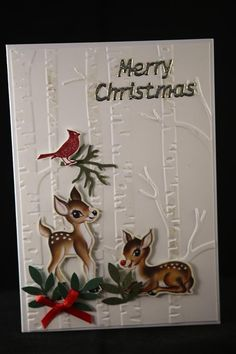 A short break from the kaisercraft silver bells paper, and today a couple of cards I made with Stampin Up designer paper Home for Christmas, and the stampin up woodland embossing folder. The top c...