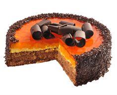Mandarinkový dort Noblesní přitažlivá kombinace šťavnatých mandarinek a dvou lahodných krémů, tmavého čokoládového a světlého s citrusovou příchutí.