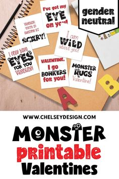 The Monster Printable Valentines are perfect for your little monster on Valentine's Day! Simple to dowload and print yourself. Show some monster love! Cute Monsters, Little Monsters, Thing 1, Gender Neutral, Hugs, Super Easy, Scary, Printer, Valentines Day