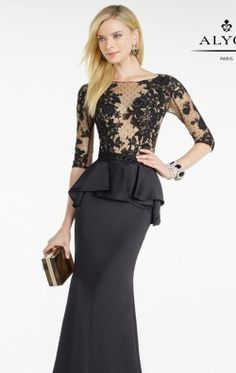 Peplum Lace Gown by Alyce Black Label 5753