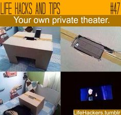 Wow. A personal theater! I never thought of this. Stick your phone on the charger.. Attach it to a box with a hole, stick your head in and bam! A personal theater. Make sure you have an app such as hulu + or netflix.