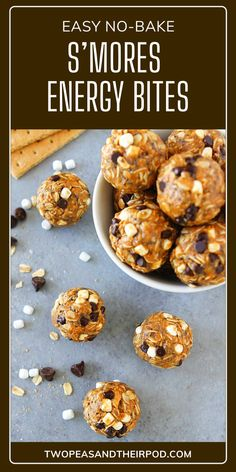 S'mores Energy Bites are high protein balls packed with oats, crushed graham crackers, chia seeds, peanut butter, honey, vanilla, mini chocolate chips, and marshmallow bits. These no-bake chewy energy balls are ready in just 10 minutes. Save this quick and easy kid-friendly recipe! Protein Bites, High Protein, Marshmallow Bits, Graham Cracker Recipes, Peanut Butter Energy Bites, Fun Easy Recipes, Snack Recipes, Breakfast For Kids, Breakfast Bites