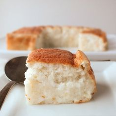 This cake automatically bakes into two layers, a cassava layer, and a coconut cake layer in the bottom. Gluten and dairy free.