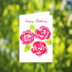 Rose Birthday Card Download: Watercolor Pink Rose by LeavesOfPaper