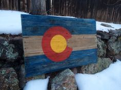 Colorado Flag on Reclaimed Wood Hand Painted by MartyAlleyDesign on Etsy
