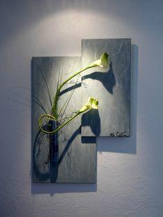 Tableau floral intemporel vert marbré 90x60 : Décorations murales par…