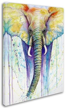 Michelle Faber 'Elephant Colors' Gallery-Wrapped Canvas Art (24 in. W x 32 in. H)