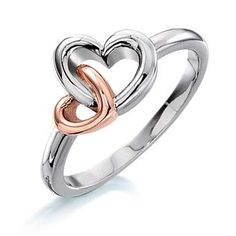 Heart Ring 14K white and rose gold $269