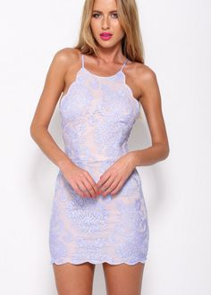 up all night scallop edge lace dress - lilac