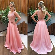 V Back Pink Prom Dress with Lace,prom dress Prom Dresses Long Pink, Grad Dresses, Pretty Dresses, Beautiful Dresses, Evening Dresses, Bridesmaid Dresses, Formal Dresses, Wedding Dresses, Godmother Dress
