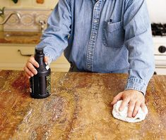 How to Remove Stains from Kitchen Countertops - This Old House Remove Wax, Remove Stains, How To Remove, Cleaning Granite Countertops, Kitchen Countertops, Coffee Stain Removal, Get Rid Of Spots, How To Clean Granite, Marble Polishing