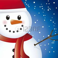 snowman over sky with snow, close up. vector illustration photo