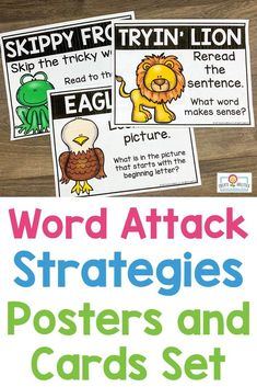 Word Attack Strategies Posters, Cards, and Bookmarks 2nd Grade Classroom, Early Readers, Different Words, Small Cards, Guided Reading, Flipping, Bookmarks, Literacy, Kindergarten