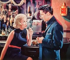 "Stella Stevens and Elvis Presley in ""Girls, Girls, Girls"". Both born in Mississippi and moved to Memphis at an early age, but did not get along..."