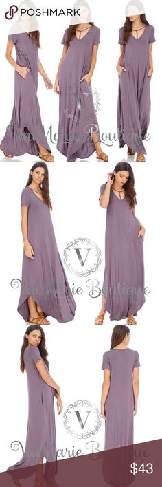 """Gorgeous T-Strap Neck Maxi Purple Dress 🇺🇸MADE IN USA- ultra soft full length gorgeous maxi dress with Pockets!!! Stretchy and perfect for Spring or Summer. Fits casual with a flowy fit. 95% rayon, 5% spandex. S(2-4) 56"""" M(6-8) 57"""" L(10-12) 58"""" ValMarie Boutique Dresses"""