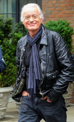 Former Led Zeppelin guitarist Jimmy Page is all smiles as he leaves the Bowery Hotel in New York City, New York on May 15, 2014