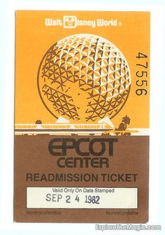 Epcot Center readmission ticket front
