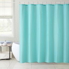 180x180cm Solid Color Waterproof Shower Curtain Mold Resistant Bath Curtain With 12 Hooks #Affiliate