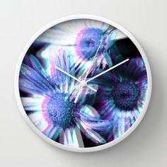 Virtual Flowers Wall Clock  Clock  Cyan  by ShelleysCrochetOle