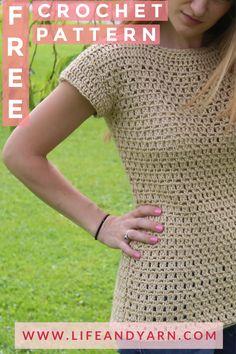 Free Crochet T-shirt Pattern! Free Crochet T-shirt Pattern! Crochet Woman, Diy Crochet, Crochet Shawl, Crochet Crafts, Crochet Summer, Crochet Tops, Diy Crafts, Crochet Designs, Crochet Patterns