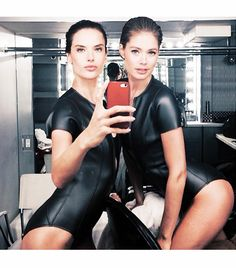 """@Who What Wear - Alessandra Ambrosio                 """"Backstage With my girl @Doutzen Wijbenga getting ready for the@vanityfair cover shoot with @A #funn#lovemyjob #bts""""    FOLLOW: @alessandraambrosio (Instagram), @AngelAlessandra (Twitter)"""