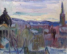 Fra Lillehammer, kirken og banken by Thorvald Erichsen, 1933 Lillehammer, Kirkenes, Edvard Munch, Scandinavian Art, Scenery, Sky, Landscape, Trees, Paintings