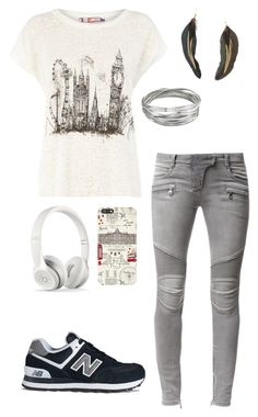 """""""tenue 37"""" by loisefairytail ❤ liked on Polyvore featuring Dorothy Perkins, Balmain, Whistles, MANGO, Harrods and New Balance"""
