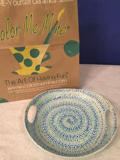 Dotted swirl platter made at Color Me Mine Bethlehem PA