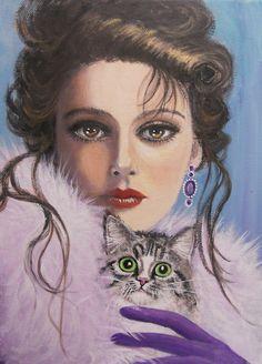 """LADY WITH A CAT"" by Dian Bernardo   Redbubble"