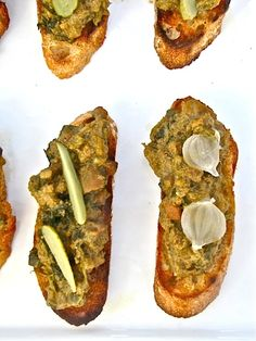 Crostini di Fegatini Toscano  Serves 4 to 6   Ingredients  1 pound of chicken livers, cleaned, deveined and trimmed, you can  substitute duck livers  1 medium red or yellow onion, finely chopped  3 or 4 tablespoons capers, rinsed and drained  4 anchovy filets, rinsed and patted dry  2 garlic cloves, minced  a pinch of Piment D'Espletteor red pepper flakes, to taste  2 cups of chicken stock, homemade or low sodium, you may not need the  entire amount  1 tablespoon chopped fresh sage ! sea…