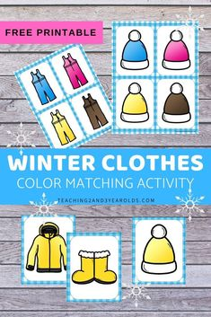 This winter clothing color matching activity is a fun way for toddlers and preschoolers to work on color recognition. It's perfect during classroom centers time or at the kitchen table! # Source by sheryljcooper clothing Winter Activities For Toddlers, Seasons Activities, Lesson Plans For Toddlers, Pre K Activities, Preschool Lesson Plans, Preschool Learning Activities, Color Activities, Preschool Ideas, January Preschool Themes