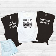 Bachelorette Party Shirts, Bachelorette Party Tanks, Muscle Tank, Bride Squad, Bridal Party Shirts, Getting Married and Shit, Daydrinking, Engagement Shirts, Engagement Party Outfit Ideas, Cute Bachelorette Shirts Black and White #Affiliate #Bachelorette #Engagement