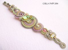 RESERVED FOR LAURA tutorial only Hand Embroidered Soutache Bracelet Tutorial in…