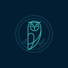 Vector owl icon in outline style vector art illustration