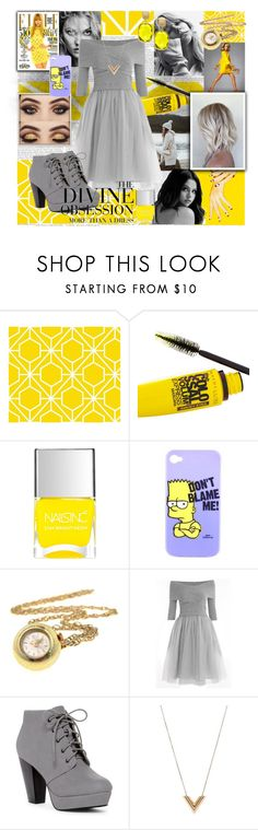 """""""Yellow elegant look"""" by eliskaozanikova ❤ liked on Polyvore featuring Maybelline, Nails Inc., ANNA, Vera Wang, Louis Vuitton and Effy Jewelry"""