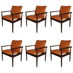 "Set of Six Finn Juhl ""Diplomat"" Chairs in Rosewood Frames and original leather ca.1960's"