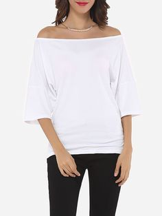 Plain Loose Fitting Stylish Off Shoulder Casual-t-shirts