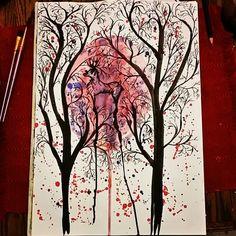 Watercolor painting - Deer in the woods