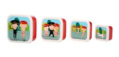 Little Travellers snack boxes-set of four Pack your lunch and snacks into these snack boxes featuring cartoons of our crew from the Little Travellers collection. They stack into each other so they're easy to store, and are perfect for school or picnics.