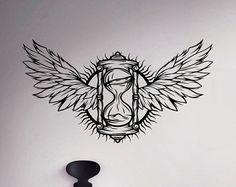 Feathers Wings Wall Decal Hourglass Vinyl Sticker Sand Glass Home Decor Ideas Interior Creative Art Mural Watch Tattoos, Time Tattoos, Body Art Tattoos, Tattoo Drawings, Clock Tattoos, Tattoo Ink, Arm Tattoo, Hals Tattoo Mann, Tattoo Hals