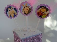 8 Cupcake Cake Toppers Pink Miss Piggy Favors Sesame Street Birthday Parties #BirthdayChild