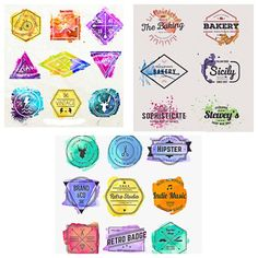 Compilation of vectors with modern hipster logotypes, badges and labels with watercolor prints for your own business(cafe, barber shop, bakery etc) and designs.