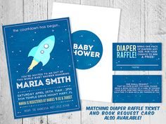 Outer Space Baby Shower Invitation by SugarPinkDesigns on Etsy