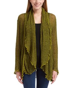 Look at this Van Klee Imports Green & Black Open Cardigan - Women on #zulily today!